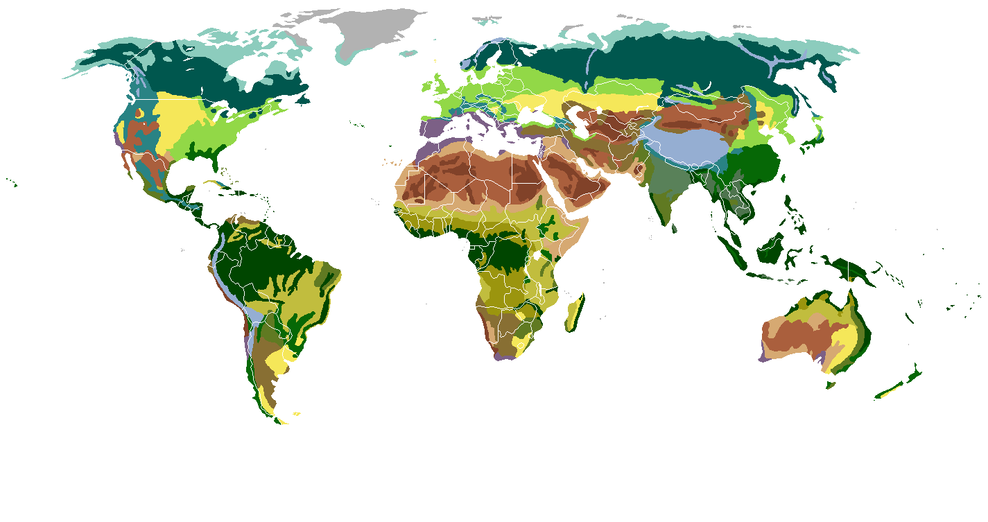 World biomes overlaid with cities of 1 million inhabitants or more heres a version without the gumiabroncs Images
