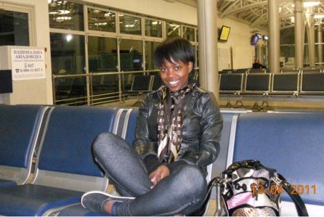Nshunge Musheshe at Boryspil airport, where she was stuck for two days (Photo courtesy of Nshunge Musheshe and the Daily Monitor of Uganda)