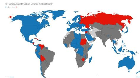 UN General Assembly Vote on Ukraine's Territorial Integrity. Blue: Yes/For; Dark Grey: Abstain; Light Grey: Absent; Red: No/Against. The only African countries to vote against the resolution were Sudan and Zimbabwe. And what about the BRICS?