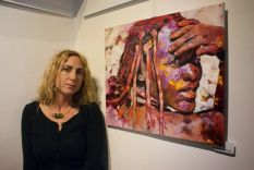 "Radu Tesaro in front of her 2014 work ""Himba"" in Melnik, Czech Republic"