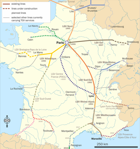Map of France showing LGVs (Ligne à Grande Vitesse). LGV Rhin-Rhône -- the first high-speed railway line in France to be built as an inter-regional route rather than a link from the provinces to Paris -- is shown in shades of blue, south-east of Paris. Passenger service on the first element of the line was launched in 2011. (Photo: Wikipedia)