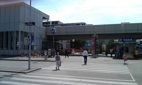United Nations Square with the eponymous subway station above, Vienna (Photo by Andy Kozlov)