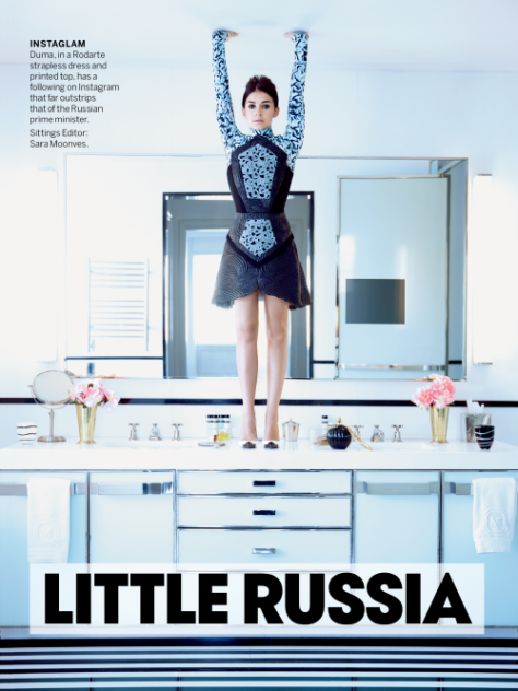 Daughter of former Kostroma senator, Miroslava Duma is featured in the April 2013 issue of Vogue USA