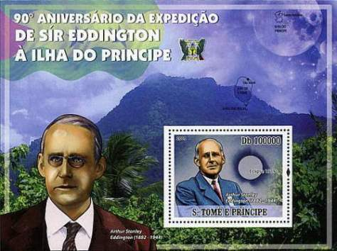 This stamp by São Tomé and Príncipe celebrates the 90th anniversary of the milestone solar eclipse observation by Sir Arthur Eddington