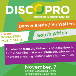 Pitching a documentary at this year's DISCOPRO competition in Johannesburg was Denver Breda of South Africa