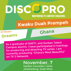 Pitching a TV Series at this year's DISCOPRO competition in Johannesburg was Kwaku Duah Prempeh of Ghana