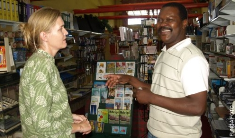Bryony Rheam at her book signing with Albert Nyathi, a Zimbabwean poet