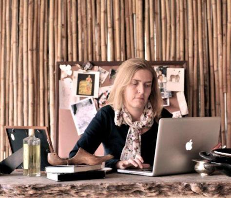Bryony at her desk in Zambia