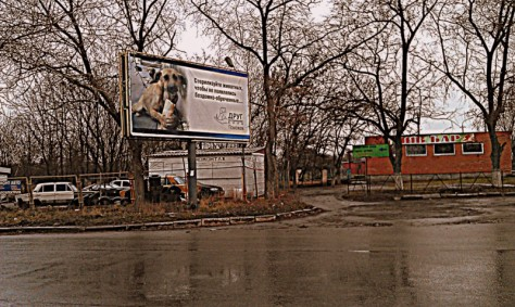 A Russian-language billboard by Droog invokes Kramatorsk, Ukraine residents to sterilize animals to curb the number of stray pets in their city (Photo by Andy Kozlov)