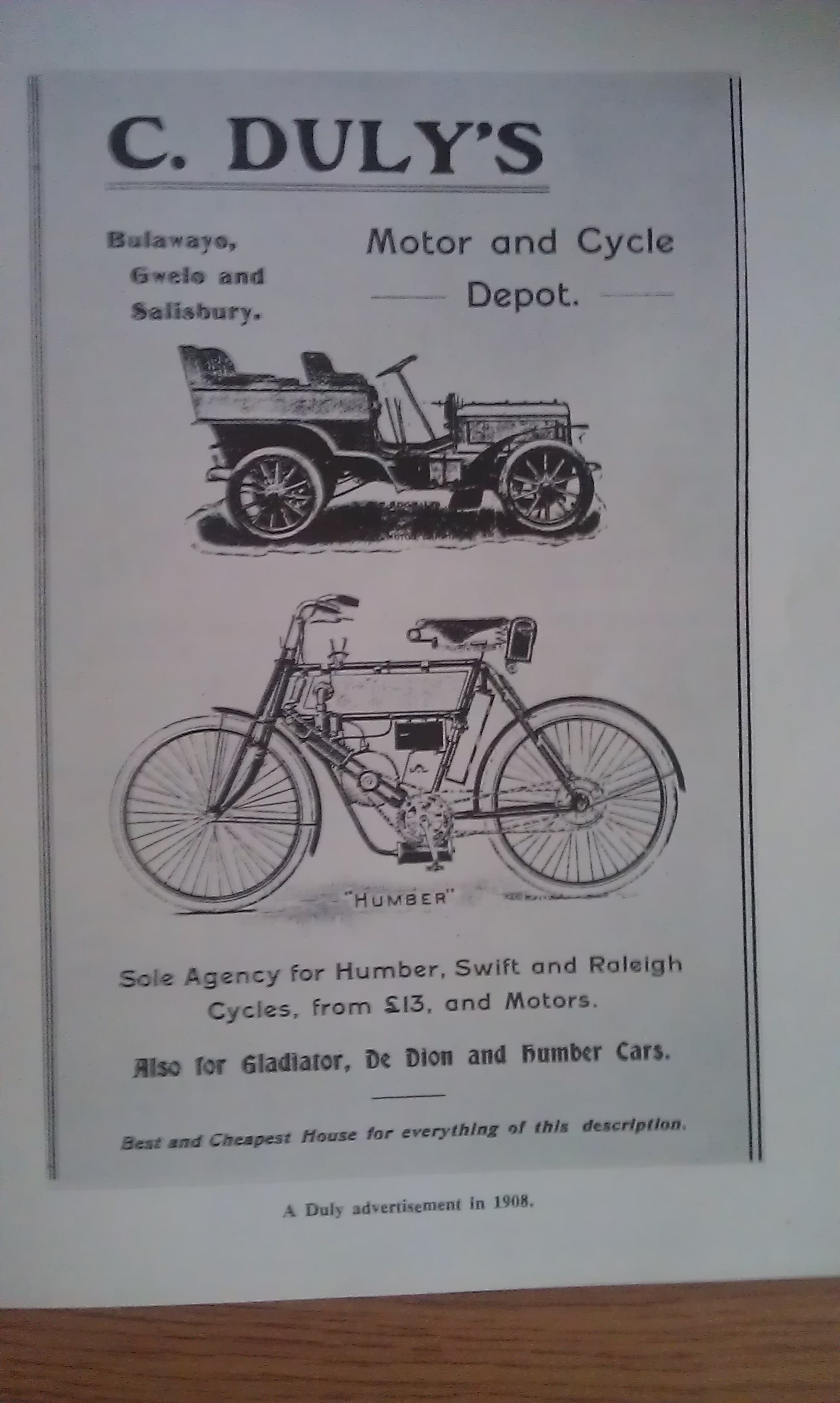 Colonial creativity steppes in sync a charles duly motor and cycle depot ad in 1908 fandeluxe