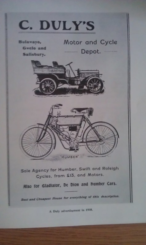 A Charles Duly Motor and Cycle Depot ad in 1908