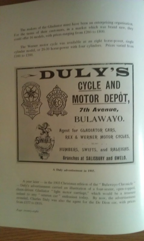 A 1905 Charles Duly ad of the 7th Avenue, Bulawayo Motor and Cycle Depot