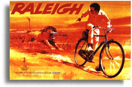 This poster is of a 60's version of Raleigh's longest running campaign in Africa - which started just after the Second World War. The series of posters chart developing prosperity in Africa as original posters showed the rider in just shorts, but over the years he gained long trousers, a smart long sleeved shirt and finally a gold wrist watch